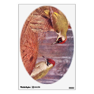 Green Woodpecker Couple Eating Ants Wall Sticker