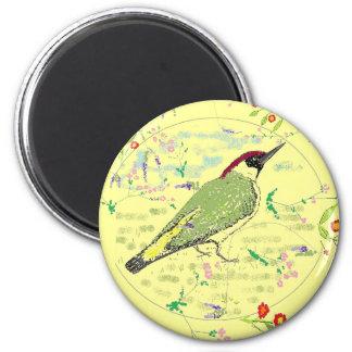 Green Woodpecker 2 Inch Round Magnet