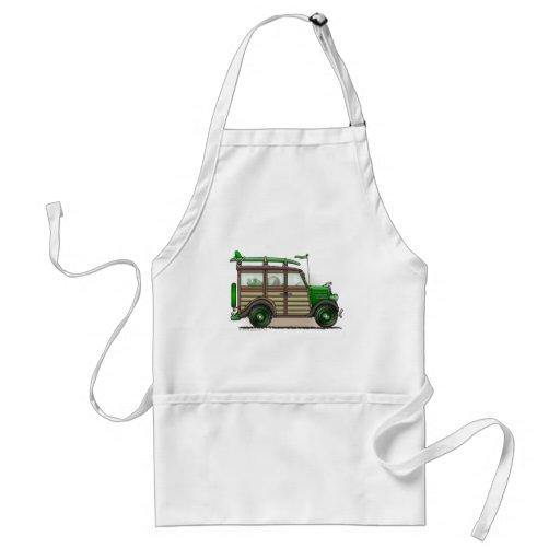 Green Woody Wagon Aprons