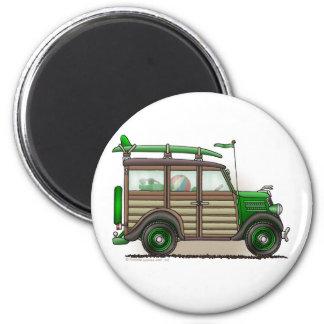 Green Woody Wagon Magnets