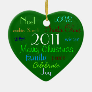 Green Words of Christmas Ornament
