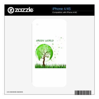 Green World Decal For iPhone 4