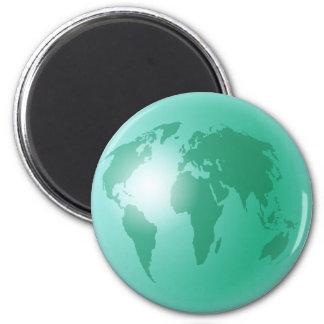 Green World Globe Refrigerator Magnet