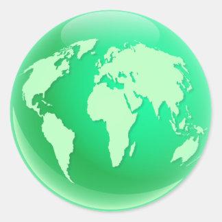 Green World Globe Sticker