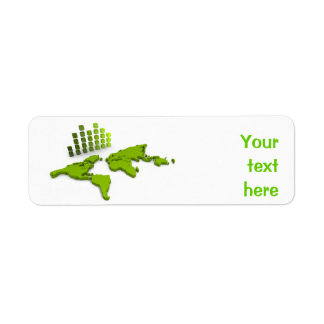 Green World Map Avery Label