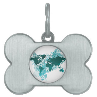 Green World Map Digital Art in Teal/ Turquoise Pet Name Tag