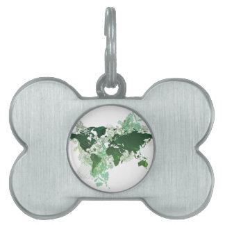 Green World Map Digital Art Pet Tag