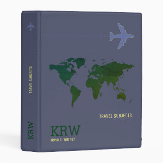 green world map travel subjects on blue mini binder