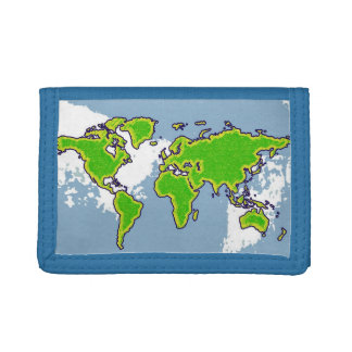 green world map trifold wallet