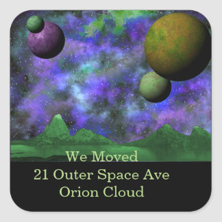 Green World Space Scene Square Sticker
