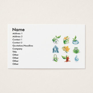 Green World Vector Icons, Name, Address 1, Addr... Business Card