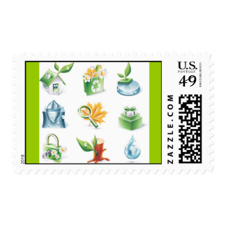 Green World Vector Icons Postage Stamps