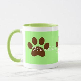 Green World's Best Dad Paw Print Mug