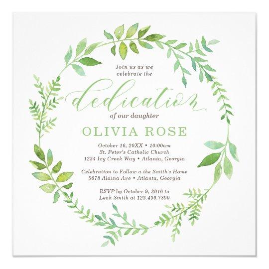 green wreath dedication invitation boho invitation zazzle com
