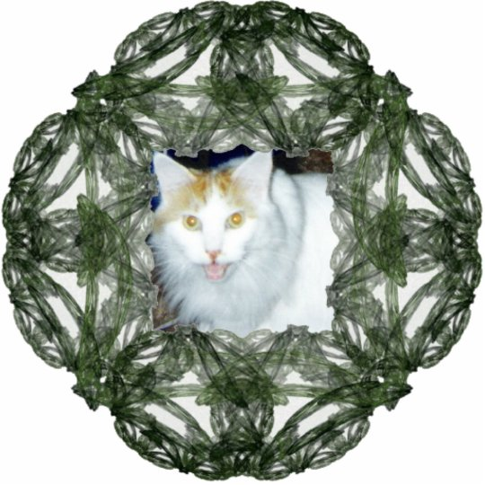 Green Wreath Fractal Art Frame Statuette