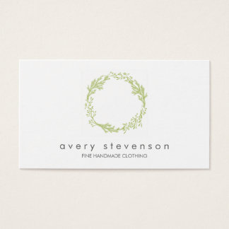 Green Wreath Logo Nature Business Card