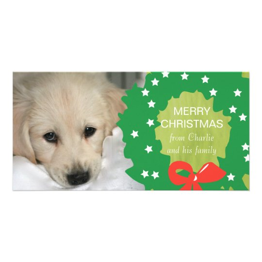 Green Wreath Merry Christmas Dog Photo Card