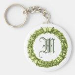 Green Wreath Monogrammed Keychain