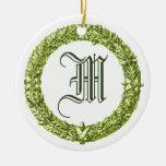 Green Wreath Monogrammed Wedding Ornament
