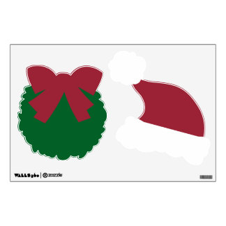 Green Wreath & Red and White Santa Hat Decals v9