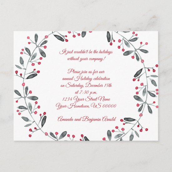 Green Wreath Red Berries Holiday Party Invitation Postcard