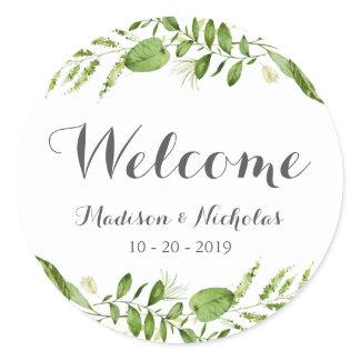 Green Wreath Wedding Welcome Stickers, Rustic Leaf Classic Round Sticker