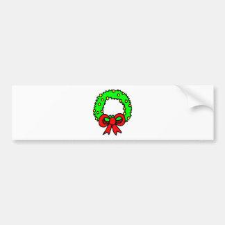 Green Wreath white background Bumper Sticker