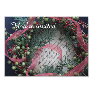 Green wreath with berries, ribbon Christmas party Card