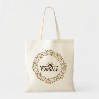 Green Wreath With Bunny- Happy Easter Tote Bag