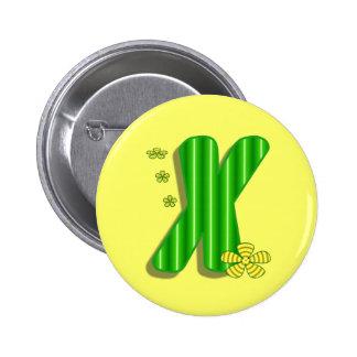 Green X Monogram Button