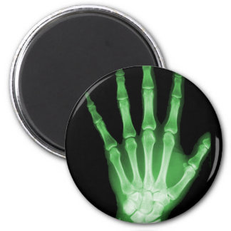 Green X-ray Skeleton Hand 2 Inch Round Magnet