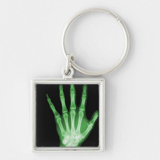 Green X-ray Skeleton Hand Keychains