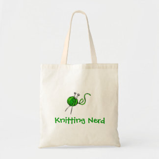 green yarn knitting needles, Knitting Nerd Bags