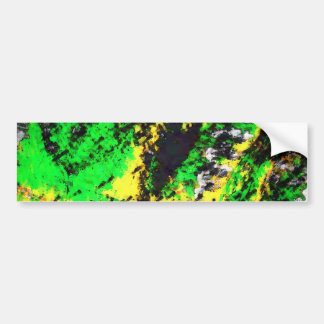 Green Yellow Abstract Design Car Bumper Sticker