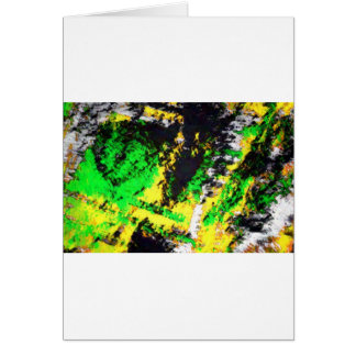 Green Yellow Abstract Design Greeting Card