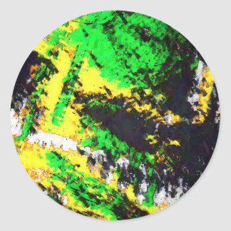 Green Yellow Abstract Design Classic Round Sticker