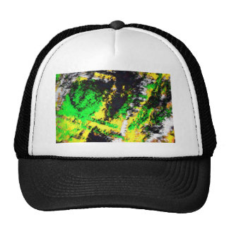 Green Yellow Abstract Design Hat