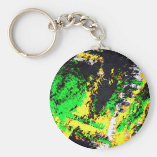 Green Yellow Abstract Design Keychains