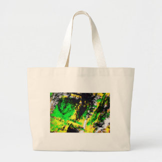 Green Yellow Abstract Design Large Tote Bag