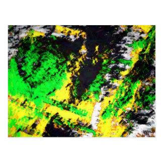 Green Yellow Abstract Design Postcard