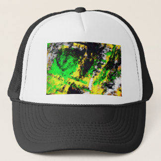 Green Yellow Abstract Design Trucker Hat