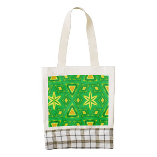 Green yellow abstract pattern zazzle HEART tote bag