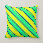[ Thumbnail: Green, Yellow, and Blue Colored Pattern Pillow ]