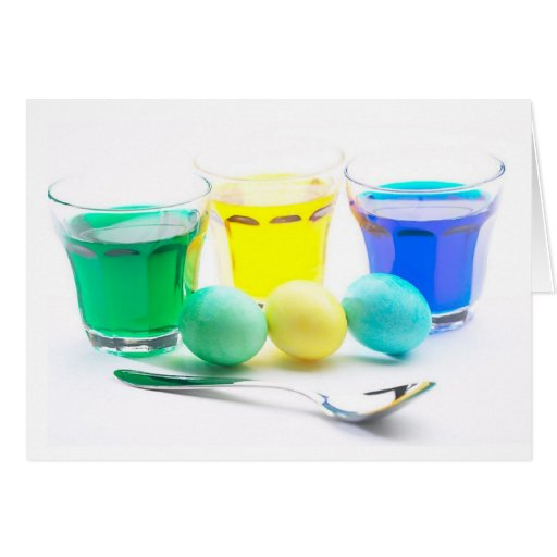 Green Yellow and Blue Eggs Greeting Cards