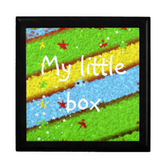 Green, Yellow and Blue Pattern with Stars Jewelry Box
