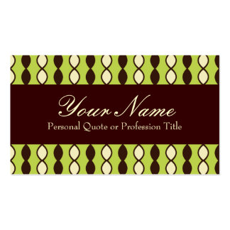 Green Yellow and Brown Retro 70's Pattern Business Cards