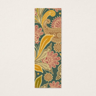 Green, yellow and pink paisley mini business card