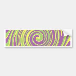 Green yellow and purple twirl pattern bumper sticker