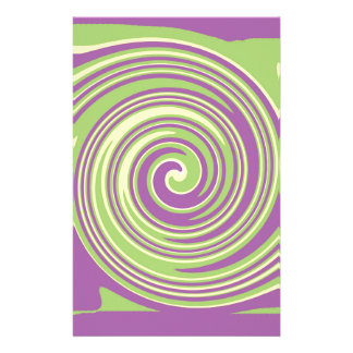 Green yellow and purple twirl pattern stationery
