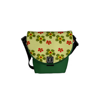 Green yellow and red flowers messenger bag